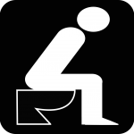 sitzt auf dem Klo, auf Toilette, Geruch