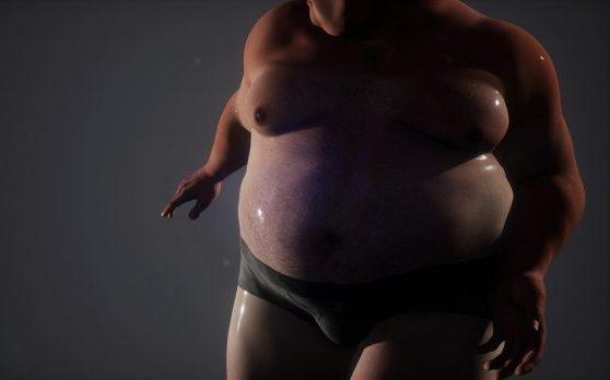 Sehr dicker Mann mit großer Fettbrust