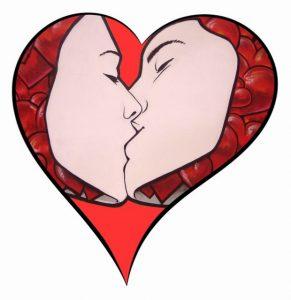 rotes Herz, Liebespaar, Kuss